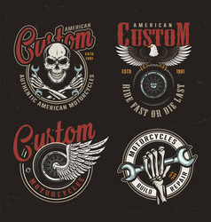 vintage custom motorcycle colorful labels vector image