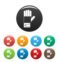 Winter gloves icons set color vector