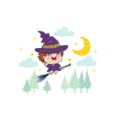 witch in kawaii style vector image