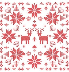 Xmas pattern in square shape with reindeers in red vector