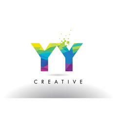Yy y colorful letter origami triangles design vector