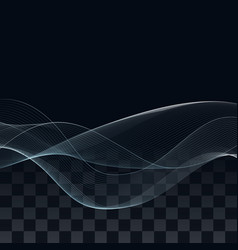 abstract blue wave design element on dark vector image