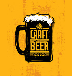 craft beer mug with foam creative lettering vector image vector image
