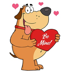 Fat dog holding up a red heart with text vector
