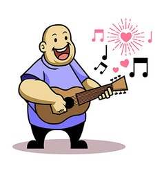 Fat Kid Sing Love Song vector image