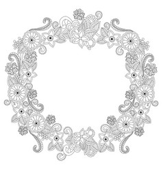 flower frame oval coloring book vector image
