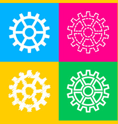 gear sign four styles of icon on four color vector image