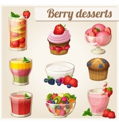 Set of food icons Berry desserts vector image