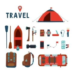 Travel icons set Isolated cartoons signs vector image