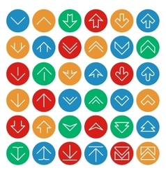 Up and down arrows on circle color buttons vector