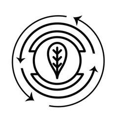 Line emblem of leaf symbol to ecology care vector