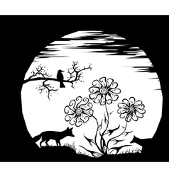 moon and silhouettes vector image