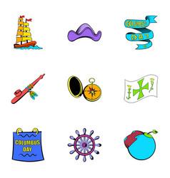 ocean travel icons set cartoon style vector image