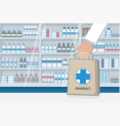 pharmacist holding paper bag medicines shelves in vector image vector image