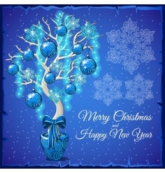 Christmas Bonsai with glass balls and snowflakes vector image