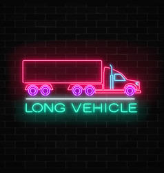 neon glowing long vehicle sign on a brick wall vector image vector image