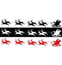 Santa sleigh and reindeers vector image