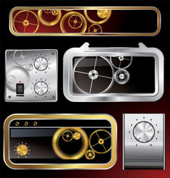 web elements collection with gears and volume knob vector image vector image