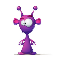 funny cute alien with big eye and ear vector image