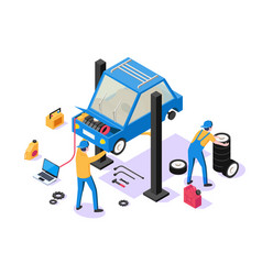 3d isometric man with repair equipment on car vector image