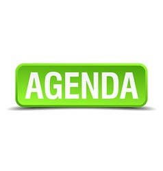 Agenda green 3d realistic square isolated button vector