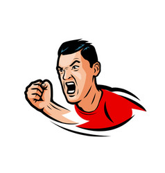 aggressive man strikes a blow with his fist sport vector image
