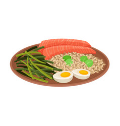 Appetizing thai food rice with salmon slices vector