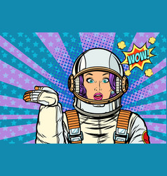 astronaut surprise woman presentation gesture vector image