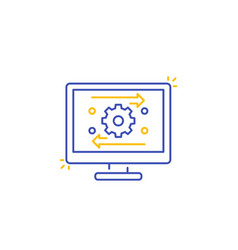 Automation and optimization software line icon vector