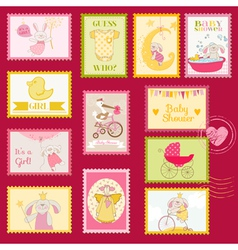 Bashower or arrival postage stamps vector