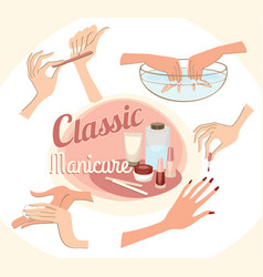 Beautiful female hands in the classic manicure vector