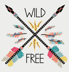 beautiful hand drawn with crossed ethnic arrows vector image