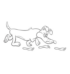 black and white of a funny cartoon bloodhound dog vector image