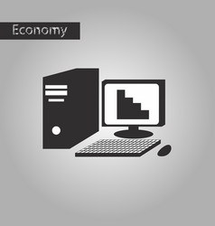 Black and white style icon office computer vector
