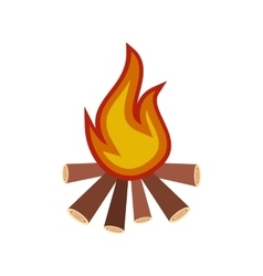 Burning bonfire flat icon vector