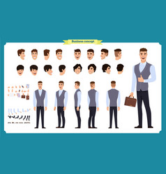 business casual fashion front side back view vector image