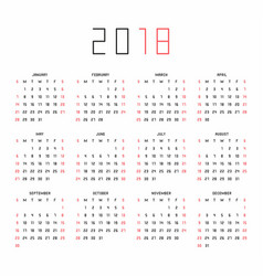 calendar for 2018 year on white background vector image