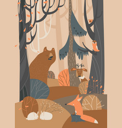 Cartoon cute animals in autumn colored forest vector