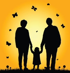 Child with grandparent silhouette vector