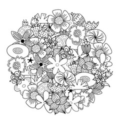 Circle shape coloring page with doodle flowers vector