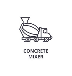 concrete mixer line icon sign vector image
