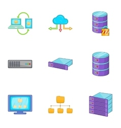 Datacenter icons set cartoon style vector