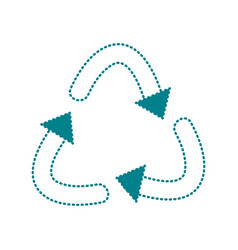 Dotted shape recycle symbol to ecology planet care vector