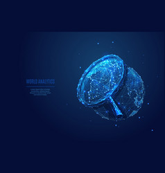 earth and magnifying low poly blue vector image