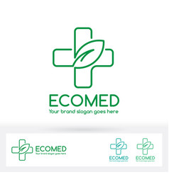 Eco medical clinic logo with cross and leaf symbol vector