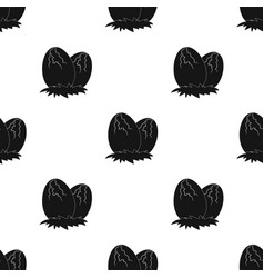 Eggs of dinosaur icon in black style isolated on vector