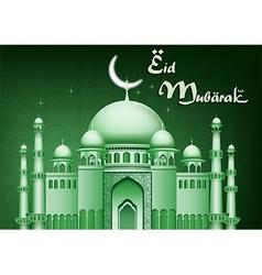 Eid Mubarak background with mosque vector