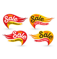 End of season hot fire sale labels vector
