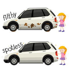 english opposite word filthy and spotless vector image
