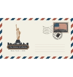 envelope with postage stamp with statue liberty vector image